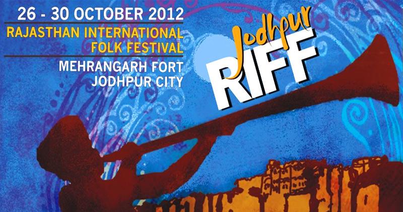 Il manifesto del RIFF: sullo sfondo della fortezza di Jodhpur una sagoma di un musicista