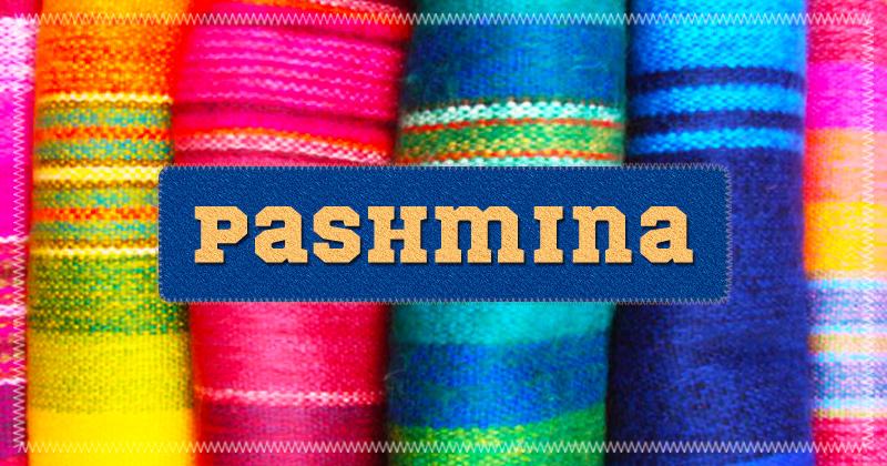 diverse sciarpe colorate di pashmina, riposte verticalmente e la scritta centrale Pashmina