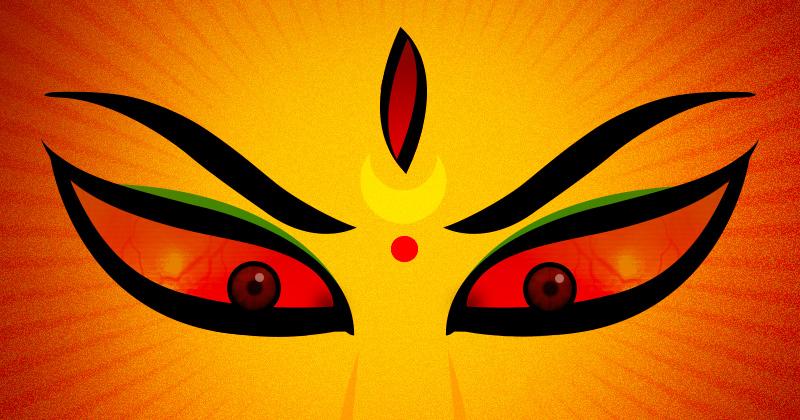 illustrazione: su sfondo arancione due occhi adirati di una divinità femminile