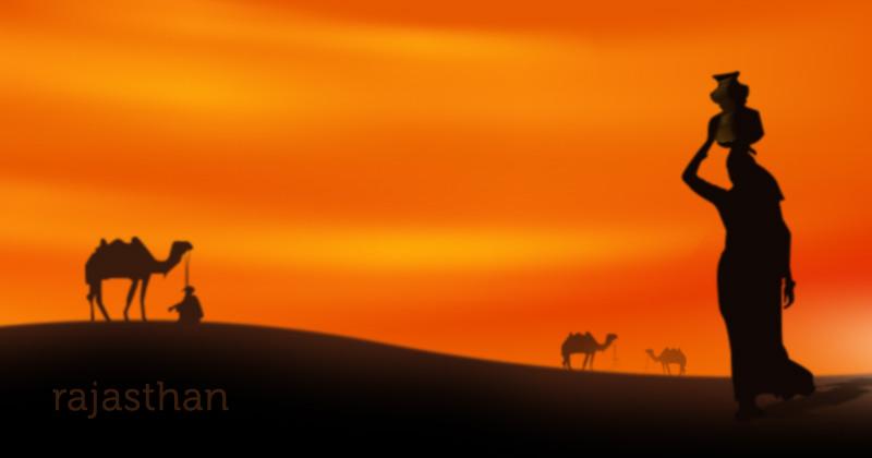 sagome di donne, uomini e cammelli sulle dune al tramonto